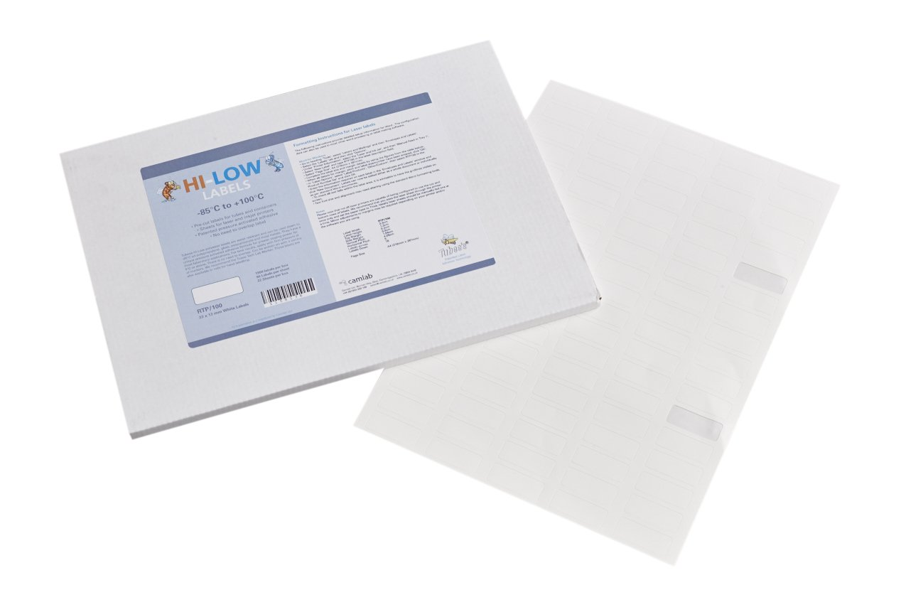 Camlab Plastics RTP/100 Tubee's Hi-Low Laser Labels, 33 x 13 mm, White (Pack of 1980) 1158136