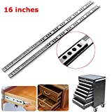 Hardware & Accessories Industrial Hardware - 2pcs Metal Drawer Bearing Slide Mute Guide Track 8-16Inch Silver (16inch) - 2 xDrawer Ball Bearing Slide