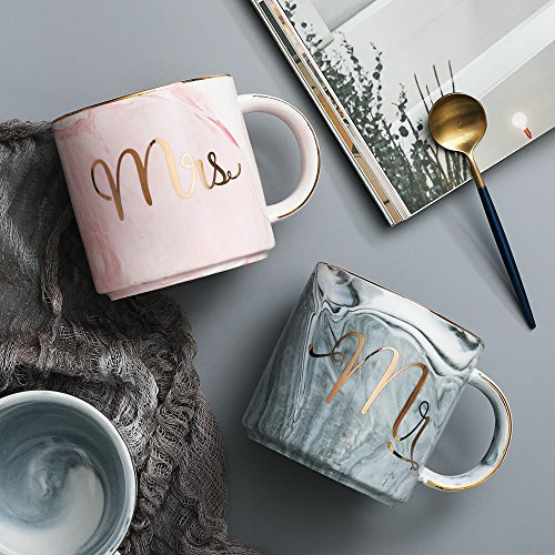 Vilight Mr Mrs Coffee Mugs Set - Gift for Bridal Shower Engagement Wedding and Married Couples Anniversary - Ceramic Marble Cups 11.5 oz by VILIGHT (Image #2)