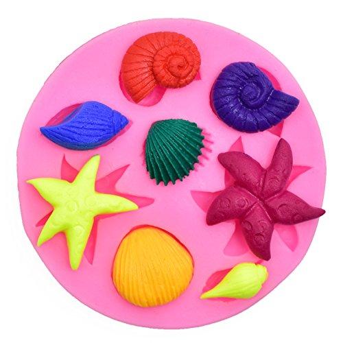 Fimo Star (SUNKOOL Silicone Seashell Sea Shell Sea Creatures Sea Star Starish Fish Cake Decorating Mold Chocolate Sugarcraft Fondant Fimo Tools)
