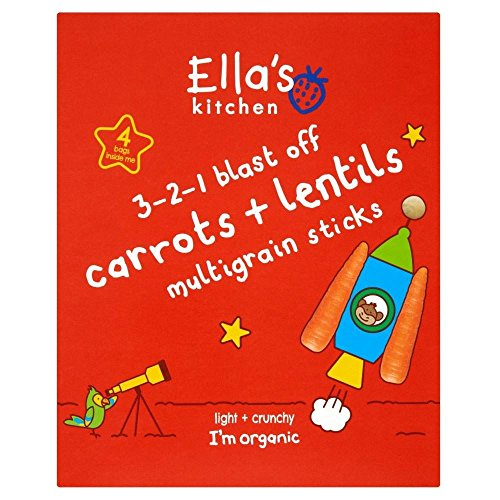 Ella's Kitchen Organic 3-2-1 Blast Off Carrots & Lentil Multigrain Sticks 12mth+ (4 per pack - 60g)