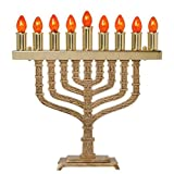 All Brass Electric Menorah - Knesset Style, Bulbs