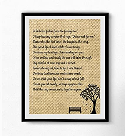Boston Traders A Limb Has Fallen From Our Family Tree Wall Art Sympathy Gift Family Loving Memorial Gift Posters Prints Amazon Com