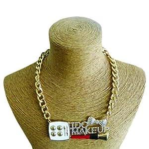 Schakespeare Women's Gold I Do Makeup Pendant Necklace