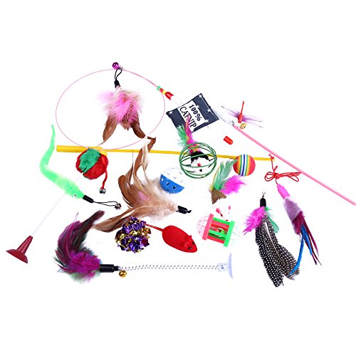 Cat Toys Variety Pack 15 pieces Feather Toys, Tease Wand, Jingle Balls, Furry Mice