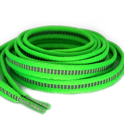 Flat High Visibility 3M Reflective Shoelaces for Night Running Sneakers Green (Miracle Lace)