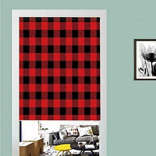 3D printed Magic Stickers Door Curtain,Red Plaid,Lumberjack Clothing Inspired Square Pattern Checkered Grid Style Quilt Design,Scarlet Black ,Privacy Protect for Kitchen,Bathroom,Bedroom(1 Panel) (Color Plaid Pattern Split)