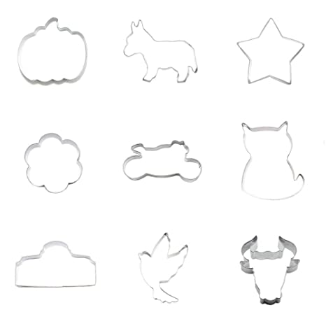 Cortador de galletas 9 piezas, cámara de palomitas de cabeza de galletas para gato o