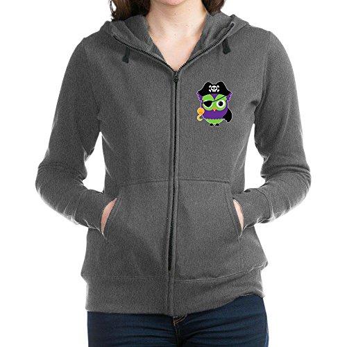 Truly Teague Women's Zip Hoodie (Dark) Little Owl Pirate - Charcoal Heather, 2X
