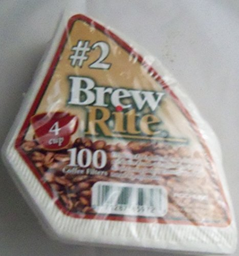 Brew Rite 4-Cup Cone Coffee Filter #2 Disposable, 100-count (40 Cup Coffee Filters compare prices)