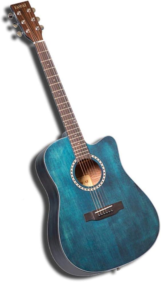 Zjcpow Guitarra acústica de Funcionamiento Profesional NATU Spruce antifracturas Sonido nítido Esquinas Redondeadas Pintado a Mano 41 Pulgadas, 4 Colores (Color: Negro, Tamaño: 103.5cm) xuwuhz