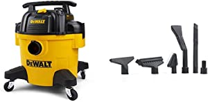 DeWALT DXV06P 6 Gallon Poly Wet/Dry Vac, Yellow & Workshop Wet/Dry Vacs Vacuum Accessories WS17854A 1-7/8-Inch Shop Vacuum Attachment Kit for Use with A Shop Vacuum with Homeowners in Mind