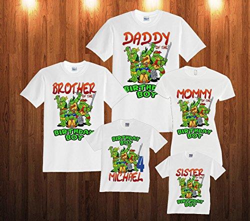 Personalized Custom Teenage Mutant Ninja Turtles TMNT Birthday Family Matching (Tmnt Birthday Shirt)