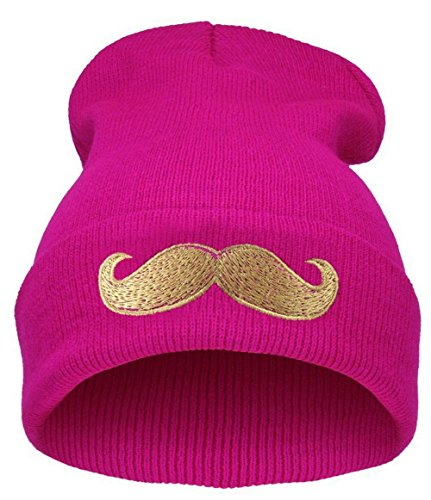 Demarkt Womens Girls Mustache Pattern Knit Hat Beanie Cap Rose red