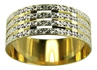 Kareco 9ct 2 Colour Gold 4mm Light Flat Diamond Cut Wedding Ring jMCSmjI