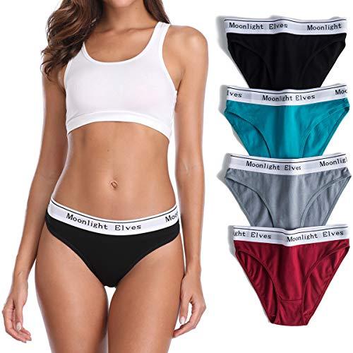 moonlight elves Women's Cotton Underwear Hipsters Panties-Bikini Panty Briefs Pack 4/6/8 -