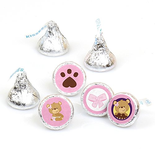 Baby Girl Teddy Bear - Baby Shower or Birthday Party Round Candy Sticker Favors – Labels Fit Hershey's Kisses (1 sheet of 108)