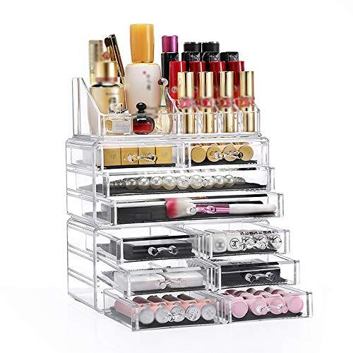 Organizador de maquillaje acrílico y organizador de maquillaje cosmético Caja de almacenamiento de encimera Tenedor de...