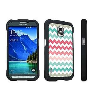 DuroCase ? Samsung Galaxy S5 Active SM-G870A Stylish Hard Case Black - (Coral Mint Chevron)