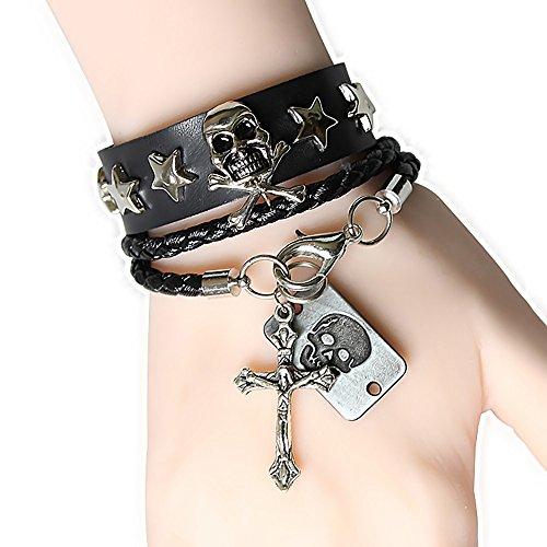 (MIXIA Punk Rocker Rocking Multilayer PU Leather Dream Star Skull Jesus Cross Fashion Vintage Adjustable Wolf Unisex Fancy Tassel Wrap Bracelets (Cross))