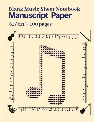 Blank Music Sheet Notebook, Manuscript Paper, 8.5