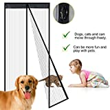WER Magnetic Screen Door for Wooden Door Frame Velcro Keep Bugs Out Let Fresh Air In Insect and Fly Screen with Magic Magnetic Closure Retractable Mesh Door Screen Fits Doors Up to 39.3x82.6'' Max