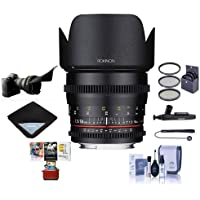 Rokinon 50mm T1.5 Cine DS Lens for Canon EF Mount - Bundle With 77mm Filter Kit, Lens Wrap, Flex Lens Shade, Cleaning Kit, Lens Pen Cleaner, Capleash II, Mac Software Package
