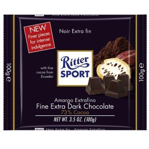 Ritter Sport Extra Fine Dark Chocolate 73%, 3.5 Ounce ()