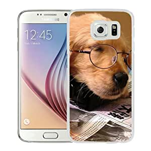 Golden-Retriever-With-Glasses White Personalized Recommended Custom Samsung Galaxy S6 G9200 Phone Case