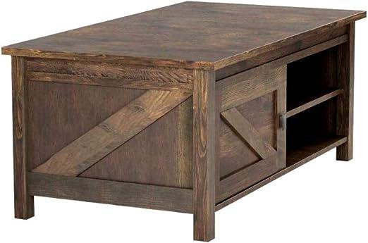 Amazon Com Barnwood Coffee Table Rustic Sturdy Laminated Mdf Wood