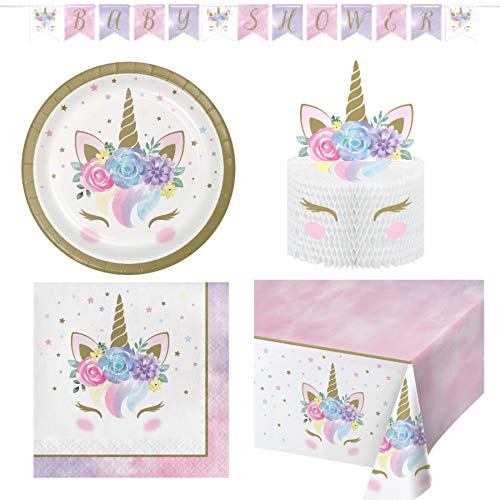 Olive Occasions Unicorn Baby Shower Disposable Paper Party Supplies 16 Cake Plates, 16 Napkins, Centerpiece, Banner…