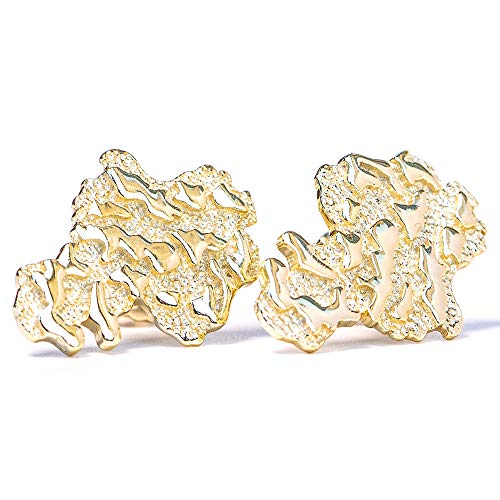 (Men's 14k Gold Plated Gold Nugget Stud Earrings)