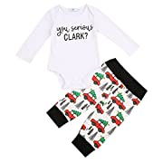 Cute Newborn Infant Baby Boy Girl Clothes Romper Tops +Long Pants Outfit 2Pcs Set (0-6 Months, Long Sleeve)