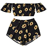 Emoji Outfits for Sale FORUU 2018 Shirts Girls Tee Shirt for Womens Hot Sale Fit Spring Summer Casual Two Piece Set Floral for Women Off Shoulder Sunflower Printed Beachwear Crop Tops (XL, Black)