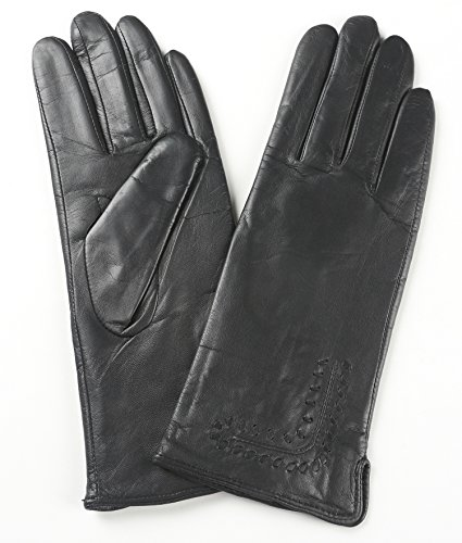 Ambesi Women's Whip Stitch Cashmere Lined Nappa Leather Winter Gloves Black M