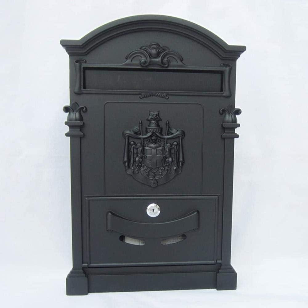 Buzones Hierro Forjado con la Cerradura Correos Retro Periódico Letter Box Box (Color : A)