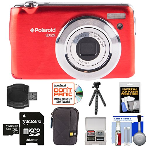 Polaroid iEX29 18MP 10x Digital Camera (Red) with 32GB Card + Case + Tripod + Kit by Polaroid