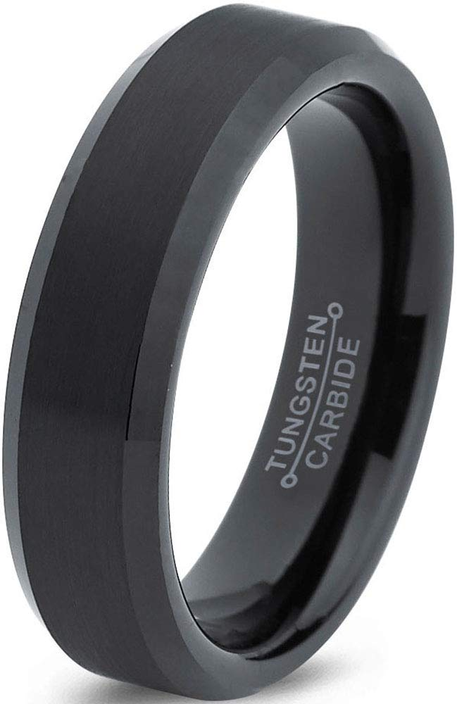 Charming Jewelers Tungsten Wedding Band Ring 6mm Men Women Comfort Fit Black Bevel Edge Brushed Polished Size 8