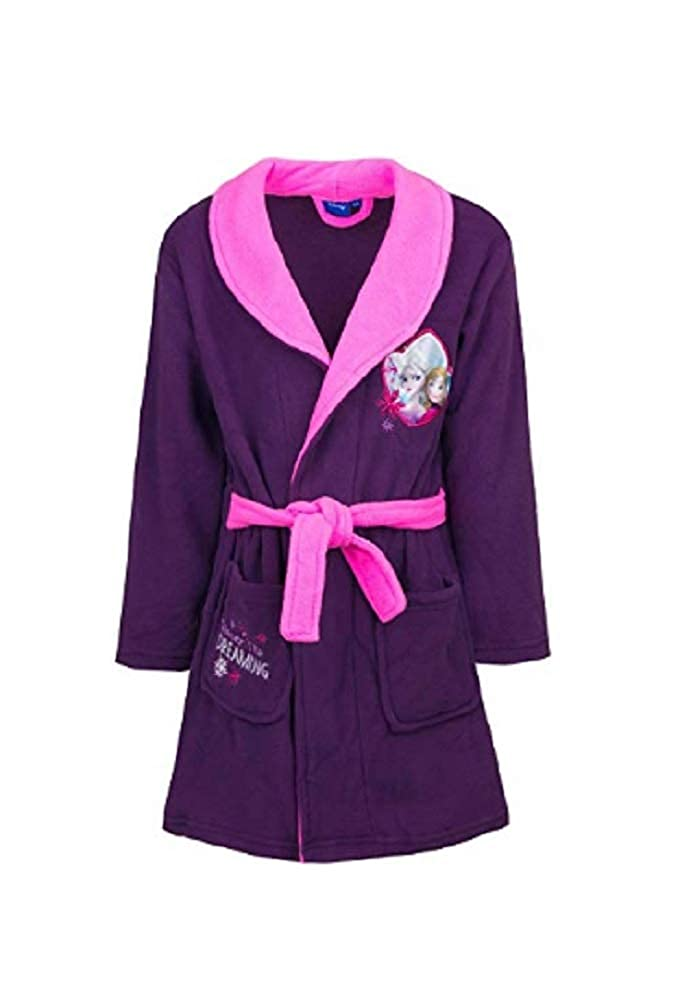 GladRags Girls Frozen Dressing Gown Size 3 4 5 6 7 8 Years Character Fleece Bathrobe (4-5 Years, Purple Tie Waist)