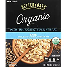 Better Oats Raw Pure & Simple Organic Bare, Instant Multigrain Hot Cereal with Flax, 8 Pouches (Pack of 2)