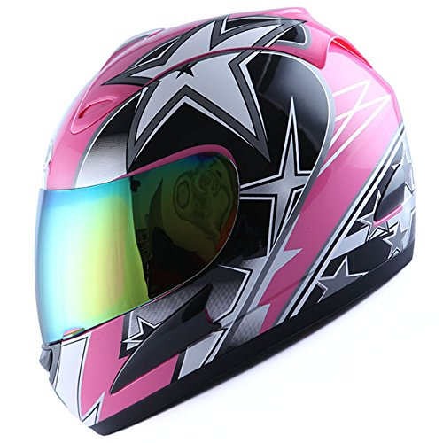 WOW Motorcycle Full Face Helmet Street Bike Racing Star Pink
