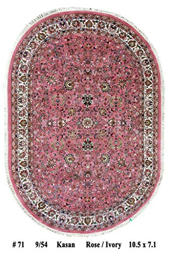 7x10 Rose Red Sarouk Rug Genuine Hand-Knotted Oval 7' 1'' x 10' 5'' Rug