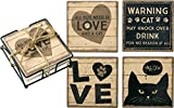 Primitives by Kathy Coaster Set All You Need Is Love And A Cat Kitchen Accessories