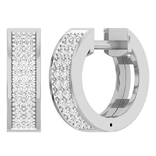 - 0.16 Carat (ctw) 14K White Gold Round Diamond Ladies Micro Pave Huggie Hoop Earrings