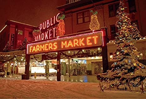Seattle Christmas.Pike Place Market 777 Seattle Goodall Christmas Cards