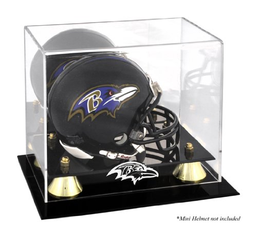 Mounted Memories Baltimore Ravens Golden Classic Mini Helmet Display Case