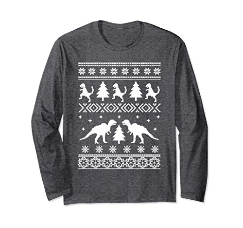 Unisex Dinosaur Snowflakes Ugly Sweater Christmas Long Sleeve Shirt XL: Dark Heather