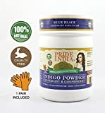 Pride Of India - Herbal Indigo Hair Color Powder w/Gloves - Blue Black, Half Pound (8oz - 227gm) Jar