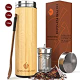 DOUNGURI Bamboo Tea Tumbler Mug with Strainer Infuser - 18 oz Vacuum Insulated