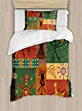 Primitive Duvet Cover Set by Ambesonne, Funky Tribal Pattern Depicting African Style Dance Moves Instruments Spiritual, 2 Piece Bedding Set with Pillow Sham, Twin / Twin XL, Multicolor